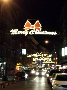 Little Italy by night at Christmas. So cute and old-fashioned.