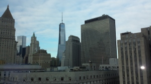 View from our room. The spire in the middle is the new building at Ground Zero.